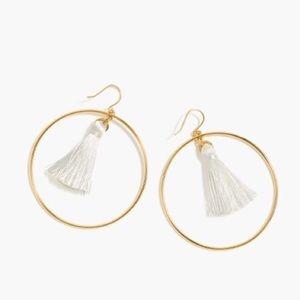 J.Crew White Fringe Gold Earrings
